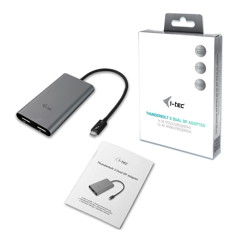 TB3DUAL4KDP   i-tec Thunderbolt 3 Dual DP Video Adapter   i-tec